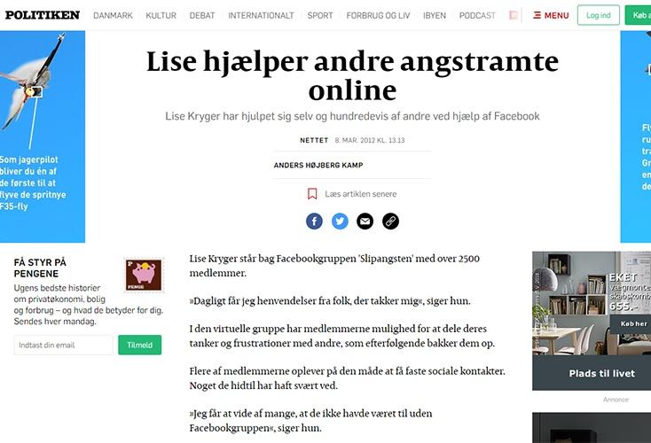 Politiken: Lise hjælper andre angstramte online